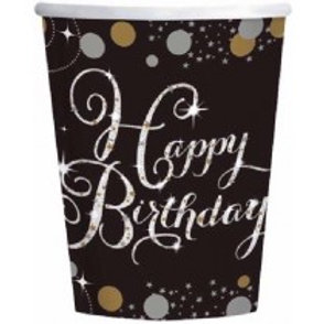 Gold/Black Sparkles Birthday Cups