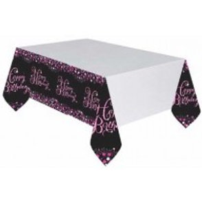Pink Sparkles Birthday Tablecloth
