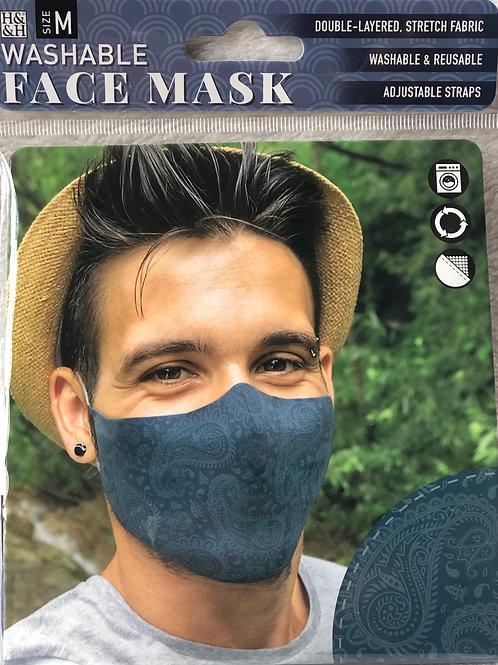 Dark Blue Paisley Face Mask (M) - 0018
