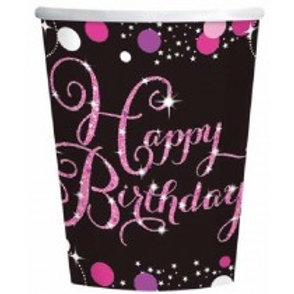 Pink Sparkles Birthday Cups