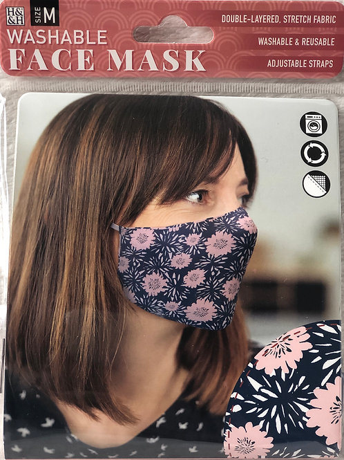 Pink Flowers/Blue Face Mask (M) - 0012