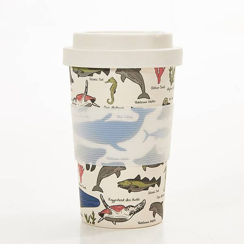 Beige Sea Creatures Bamboo Cups
