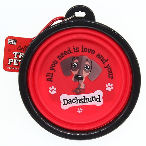Wags & Whiskers Travel Pet Bowl - Dachshund