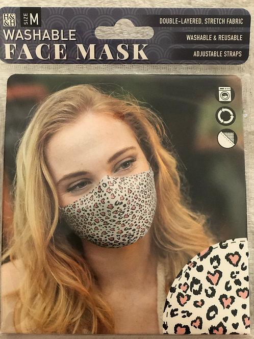 Pink Heart Safari Face Mask (M) - 0011
