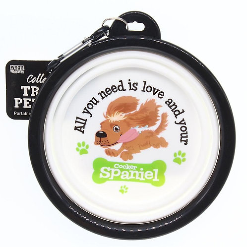 Wags & Whiskers Travel Pet Bowl - Cocker Spaniel