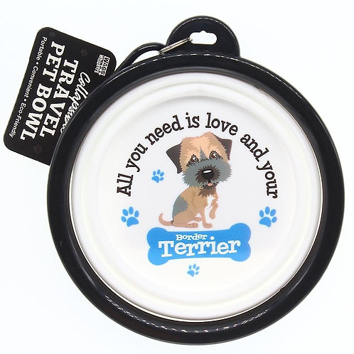 Wags & Whiskers Travel Pet Bowl - Border Terrier