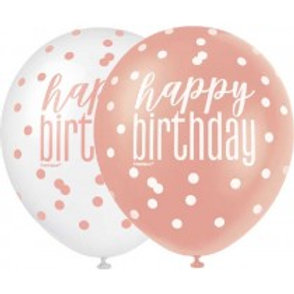 Rose Gold Birthday Latex Balloons