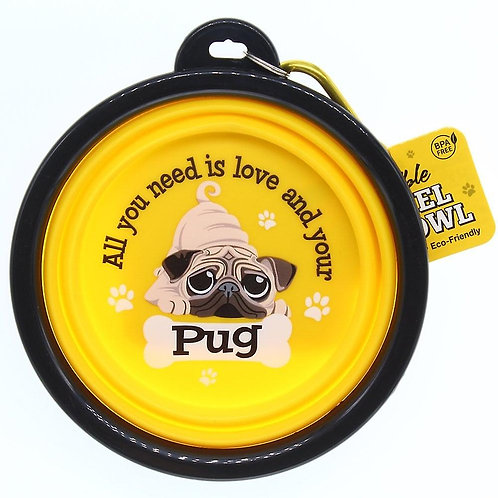Wags & Whiskers Travel Pet Bowl - Pug