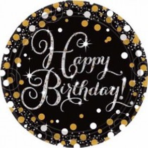 Gold/Black Sparkles Birthday Plates