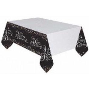 Gold/Black Sparkles Birthday Tablecloth