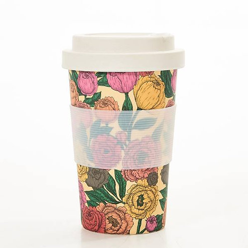 Beige Peonies Bamboo Cup