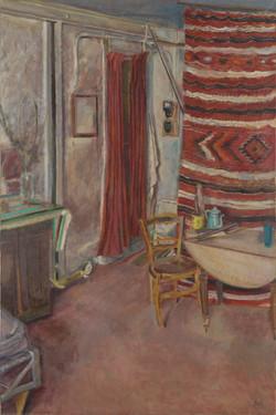 Table et couverture rouge