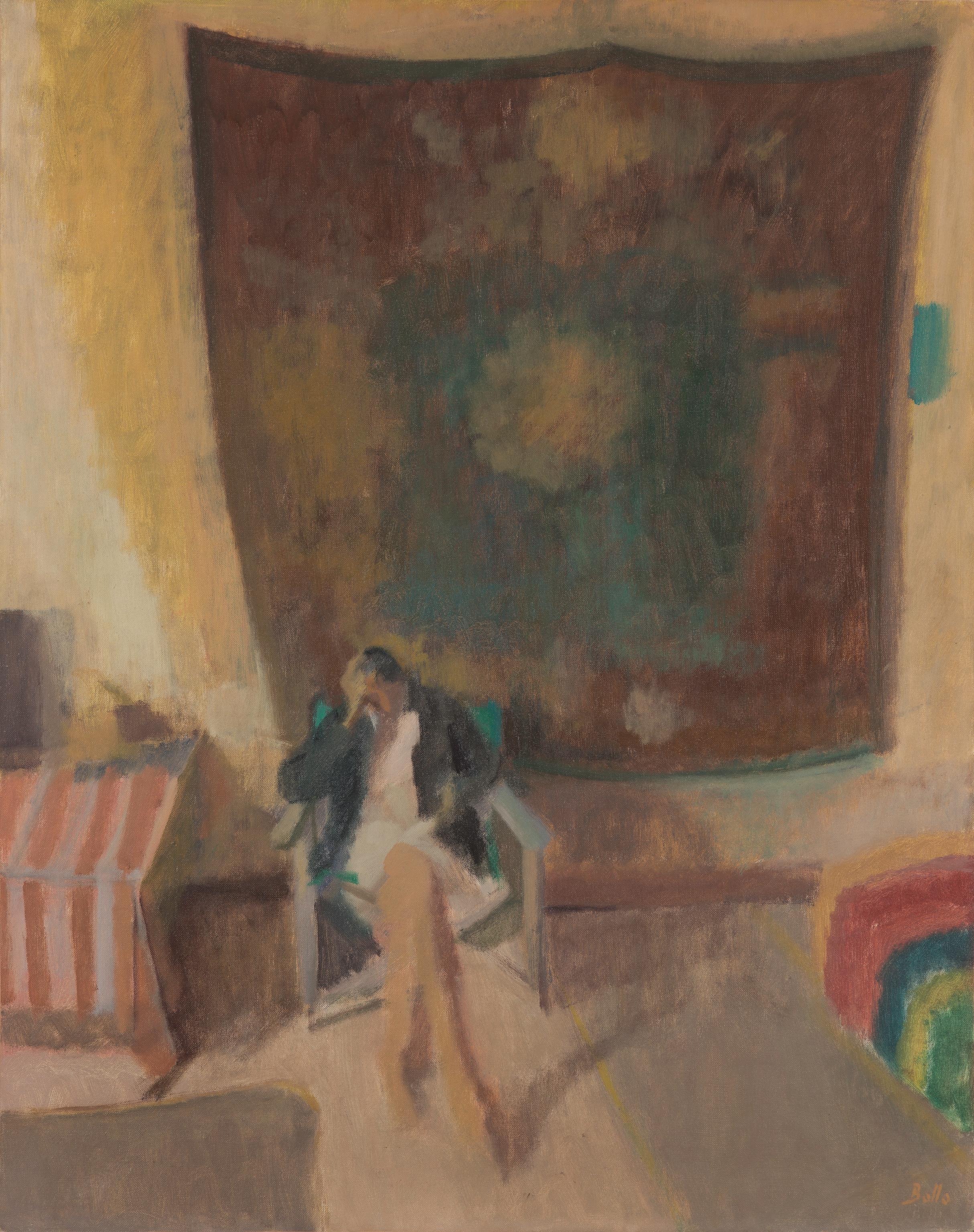 Annie devant la tenture