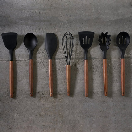 Utensil Set - Walnut and Silicone