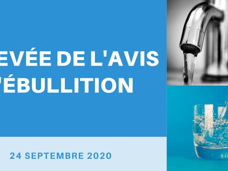 LEVÉE DE L'AVIS D'ÉBULLITION