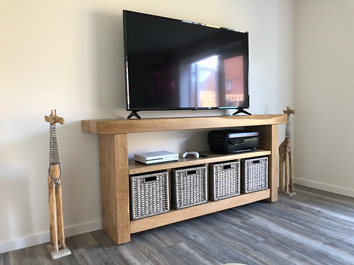 Hand-Crafted French Oak Sleeper TV Unit With Storage Baskets
