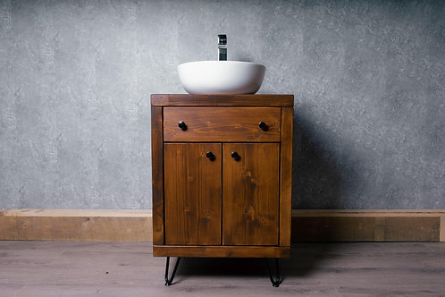 Hand-Made Bathroom Wooden Vanity Unit & Wooden Floating Shelving x 3