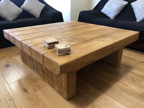 Hand-Crafted Rustic Aged Oak Sleeper Coffee Table – Wax Finish