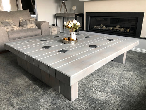 Contemporary Grey Oak Sleeper Square Coffee Table - Multiple Sizes Available