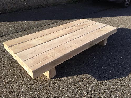 Handmade Solid Oak Sleeper Coffee Table - Unfinished