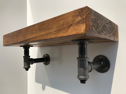 Industrial Wall-Hung Wooden Shelf With Black Steel Pipework Brackets