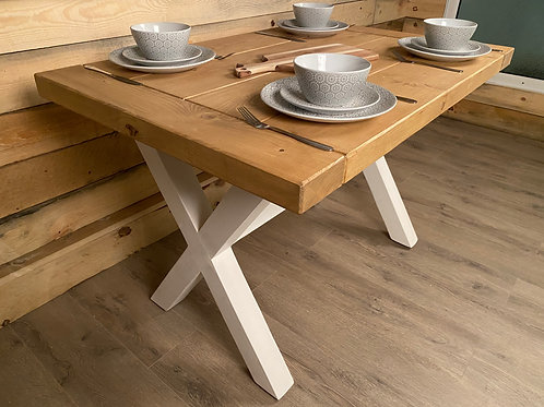 Farmhouse Shabby Chic Wooden Dining Table With X Legs