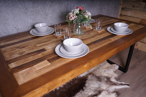 Modern Rustic Hand-Made Wooden Dining Table With Steel Square Legs