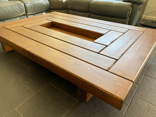 FAO Andy - Custom Order - Hand Made Solid Oak Sleeper Coffee Table With Center