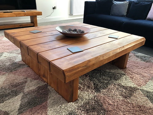 Hand-Crafted Rail-Way Sleeper Coffee Table - 5 Available Colours