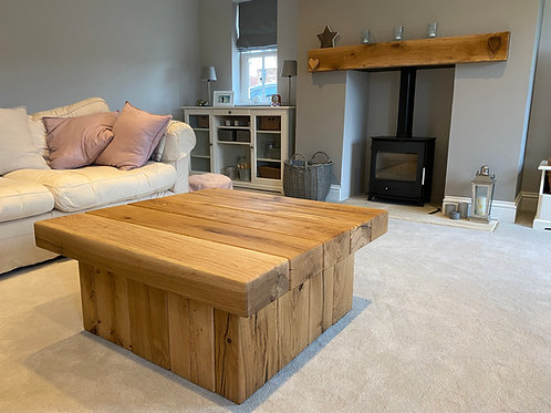 Square Oak Coffee Table With Pedestal Base - Available In Multiple Sizes