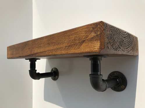 Industrial Wall-Hung Wooden Shelving With Black Steel Pipework Brackets