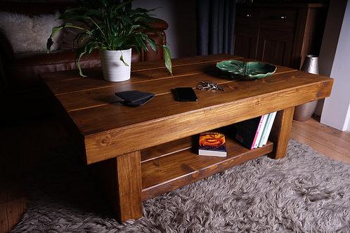 Hand-Made Chunky Rail-Way Sleeper Coffee Table With Shelf