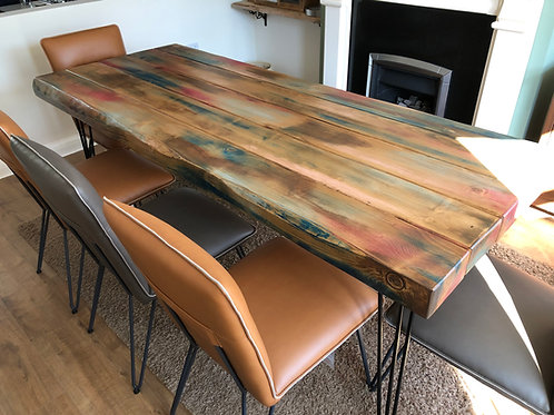 Handmade Dining Table & Bench Set With Black Steel Hair-Pin Legs