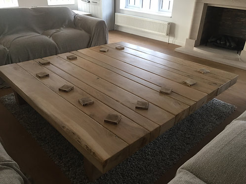 Hand-Crafted Large Modern Oak Square Coffee Table