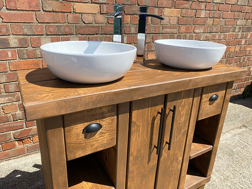 Hand-Crafted Double Basin Vanity Unit / Wash Stand - His & Hers