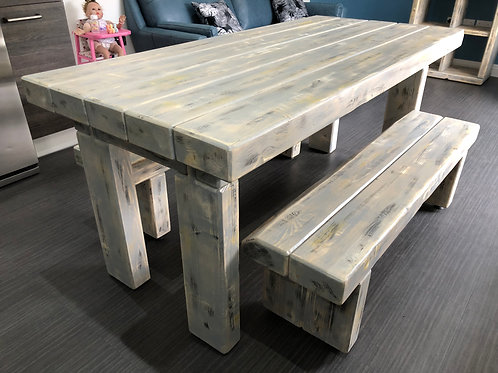 White-Wash Dining Table Set With Matching Benches - 3-Piece Set