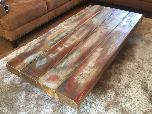 Multi-Coloured Rustic Rail Way Sleeper Coffee Table - Inspired By The Union Jack
