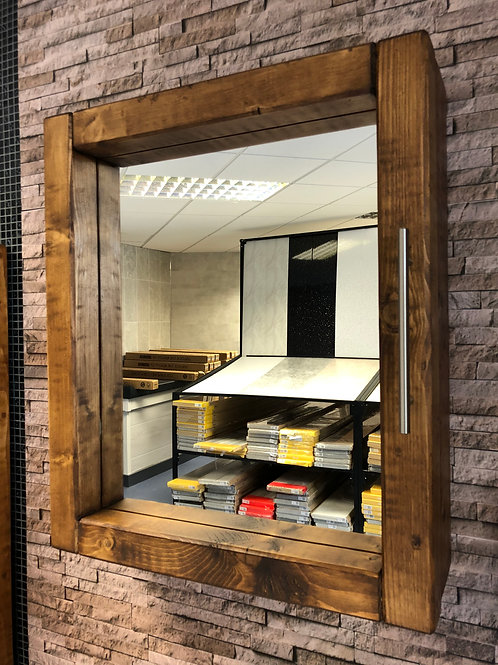 Handmade Wooden Chunky Mirror Cabinet With Mirror - Wall Mounted