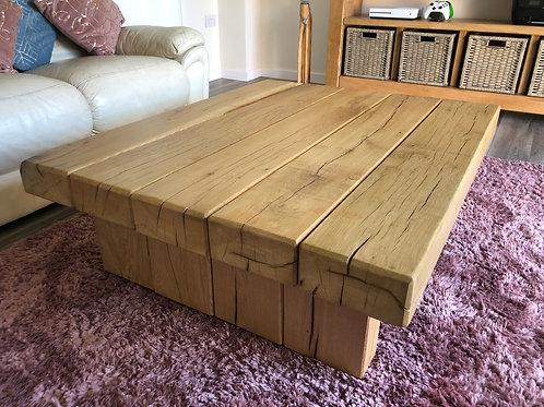 Handmade French Oak Sleeper Coffee Table - Varnish Finish