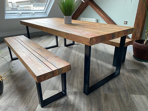 Colourful Dining Table & Bench Set Combo With Black Steel Square Legs