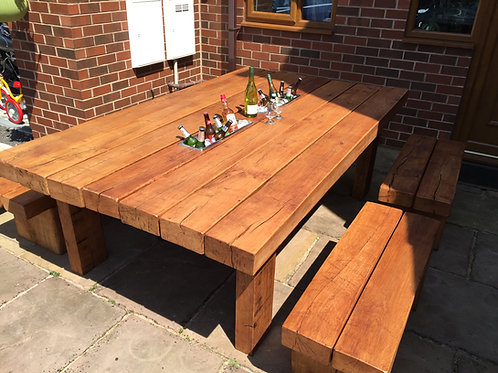 Exclusive Outdoor Oak Dining Table With Matching Benches