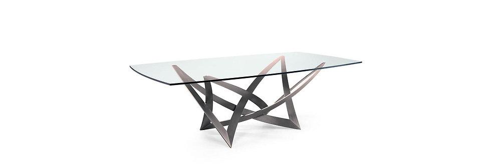 イタリア製 ガラス天板ダイニングテーブルINFINITO