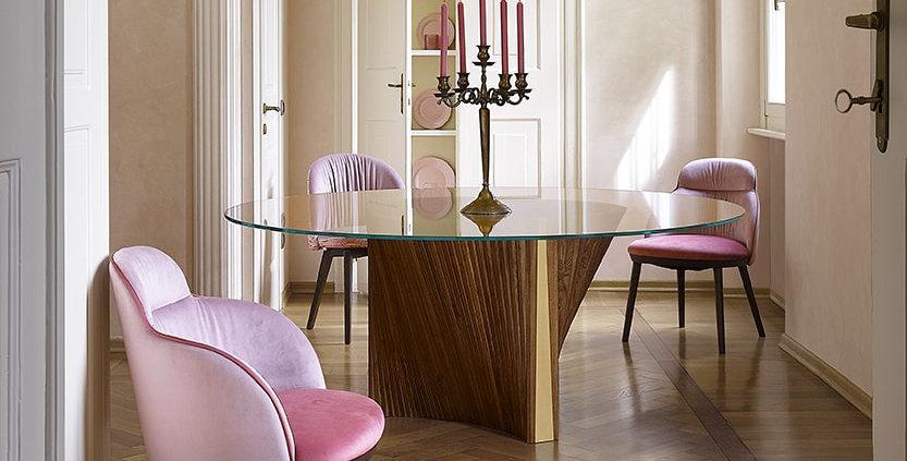 イタリア製 ガラス天板ダイニングテーブルCLR 円形