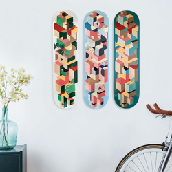 skateboards on wall