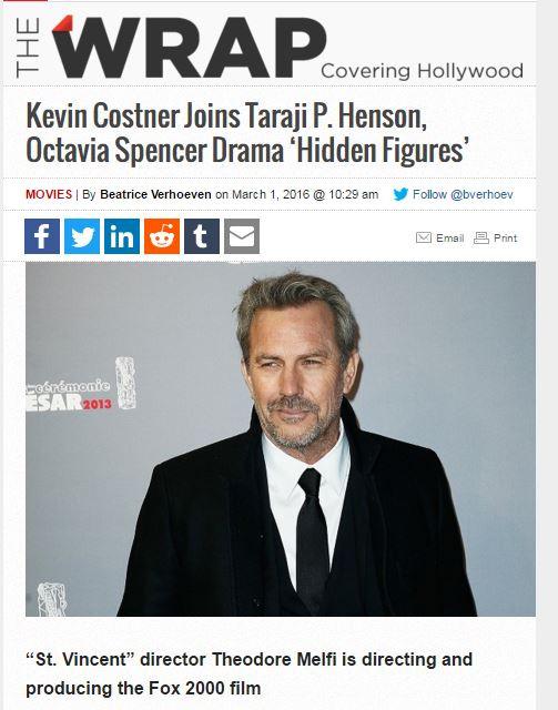 Kevin Costner Joins Taraji P. Henson, Octavia Spencer Drama 'Hidden Figures'