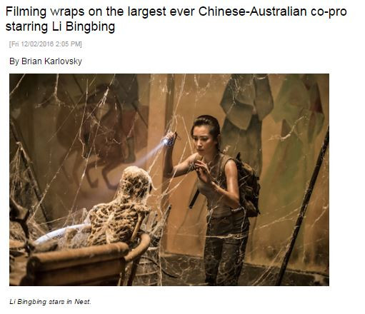 Filming wraps on the largest ever Chinese-Australian co-pro starring Li Bingbing
