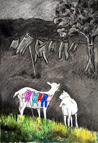 Rosalie Bissell 4 goats in the garden.jp