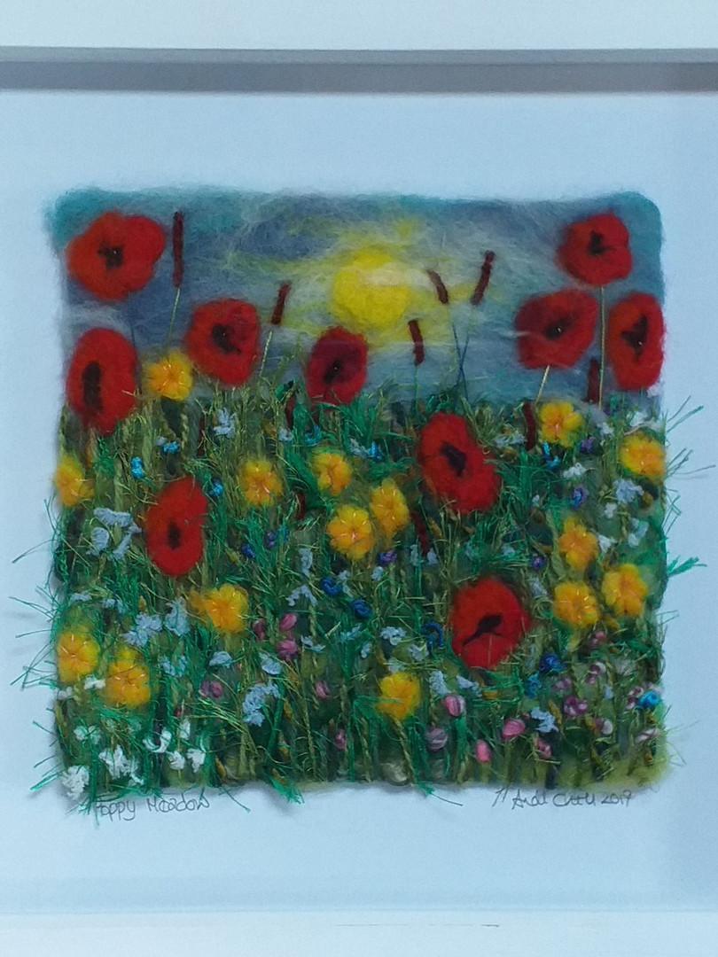 Andi Chell  'Poppy Meadow' 33 x 33cms