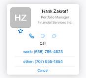 SpeedDial Contact Card