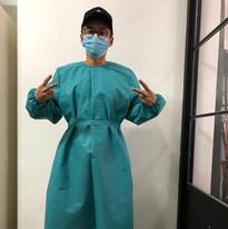 Designer Khoon Hooi trying on a hospital